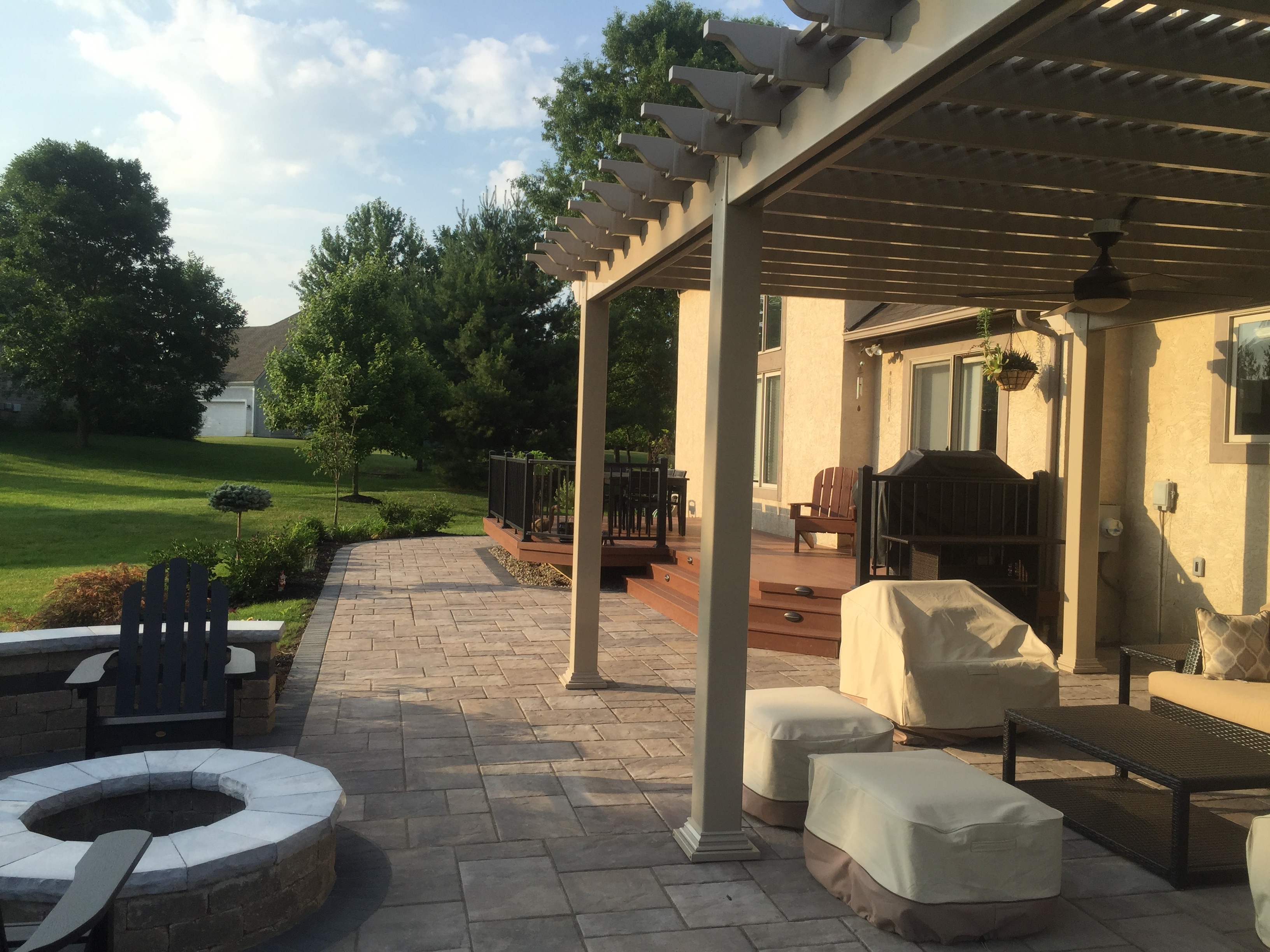 Backyard pergola over patio in Columbus.