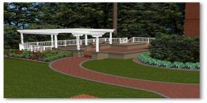 3D rendering of backyard
