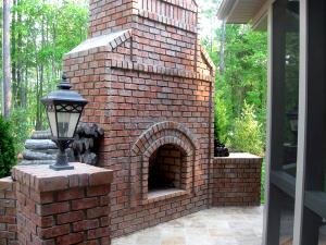 large brick fire place