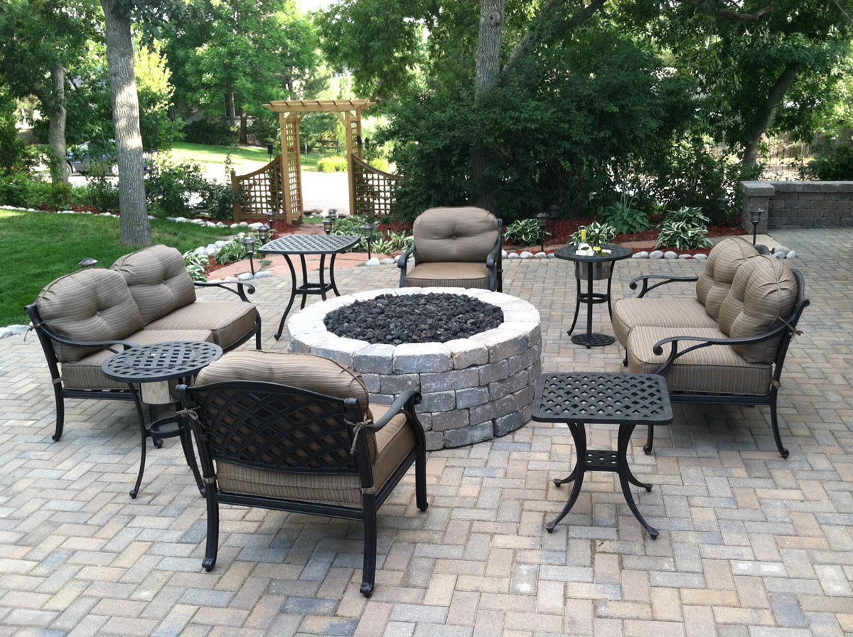 patio with furniture and fireplace