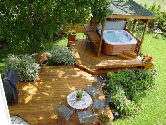 Hot tub enclosure and deck