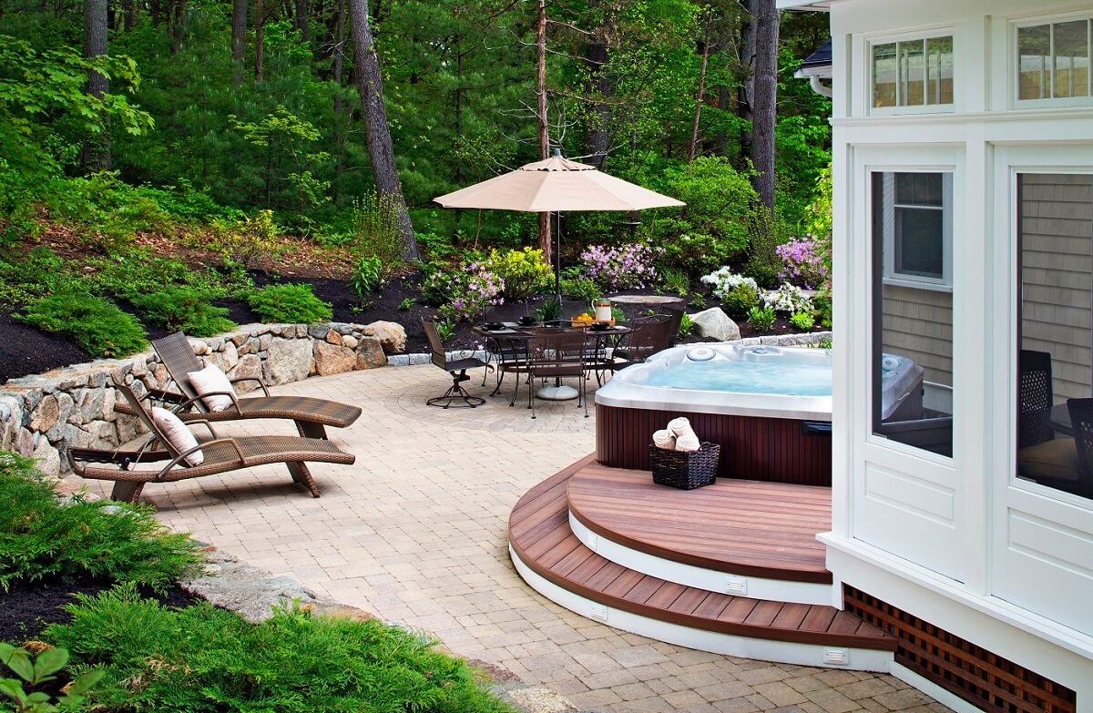 Patio with lounge area and custom hot tub deck