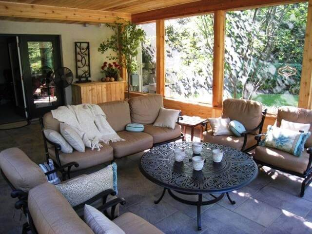 Custom cozy screened porch