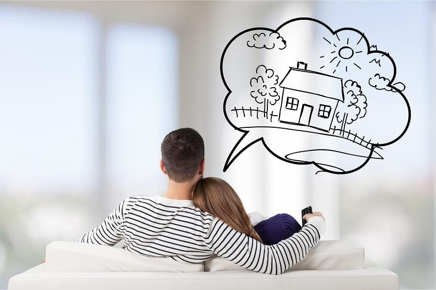 Couple imagining new house
