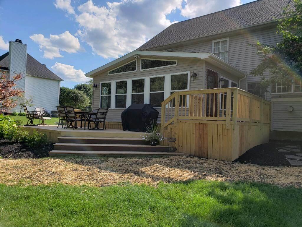 Backyard three season room and deck