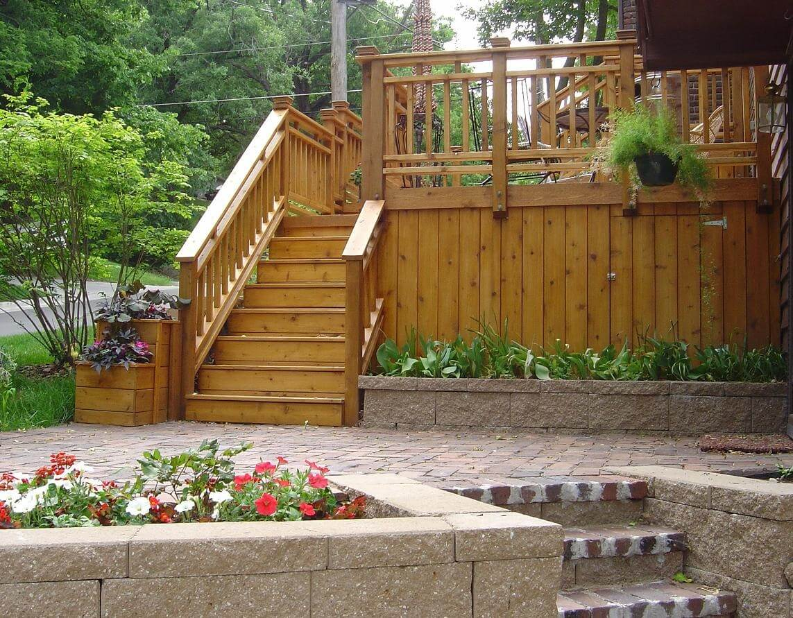 Wood deck and patio with wall planter