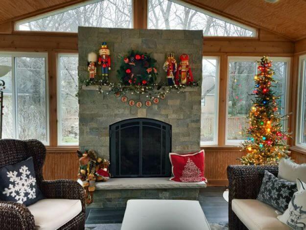 Christmas decorated sunroom