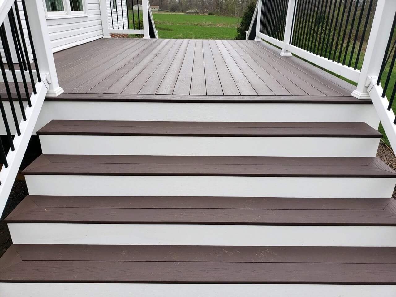 Backyard deck stairs