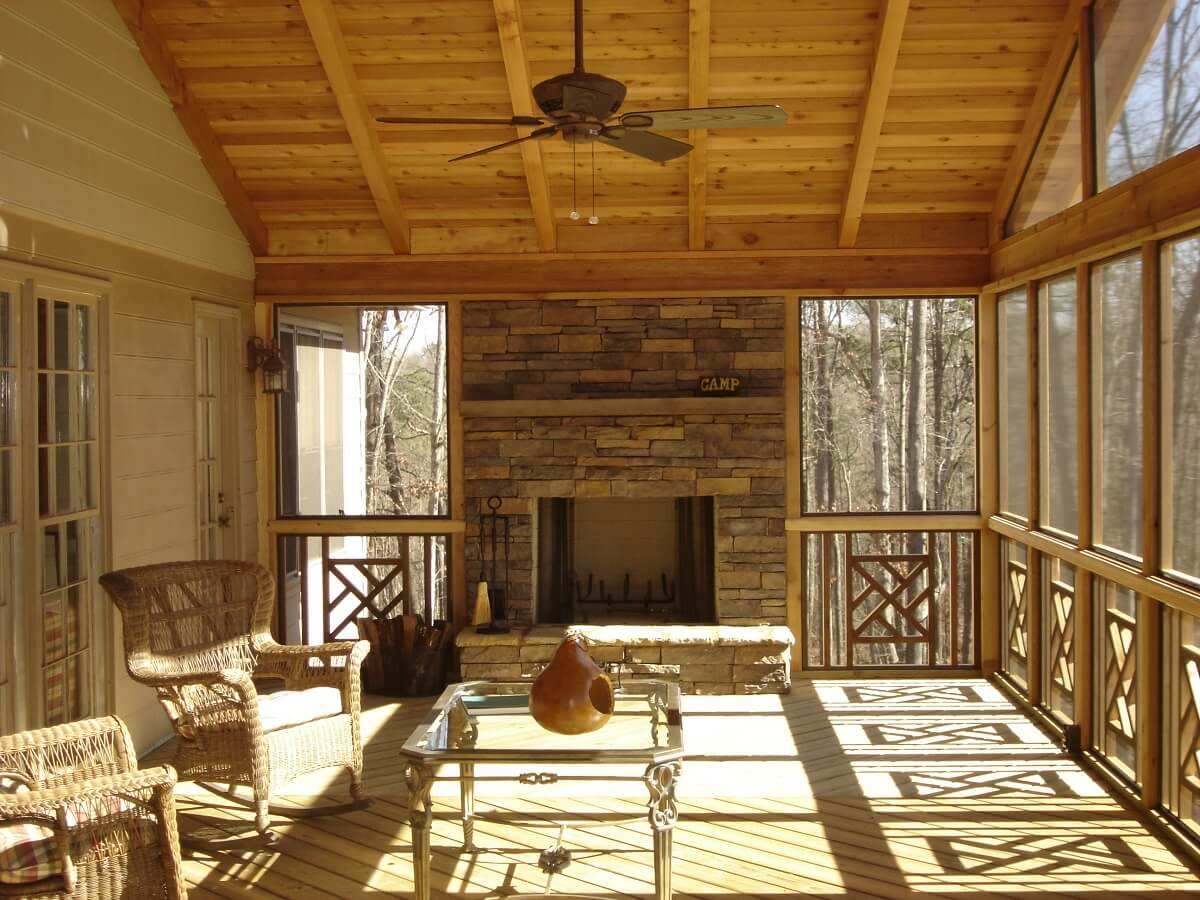 Screened porch with outdoor fire place