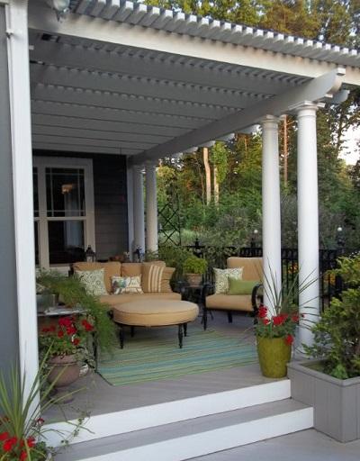 Pergola over cozy deck