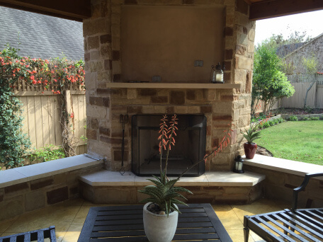 Fireplace in covered patio