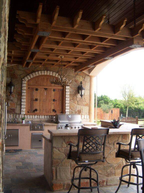 Patio seating area and barbeque