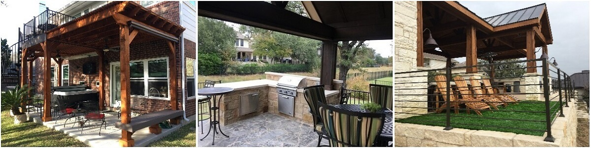Custom patios with outdoor kitchen and hot tub