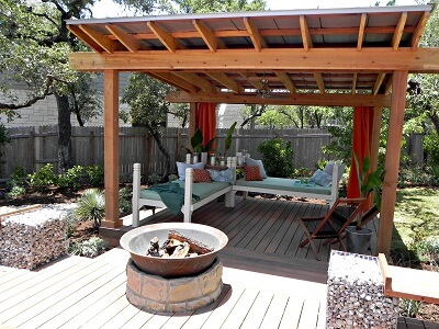 Custom deck with pergola and fire pit