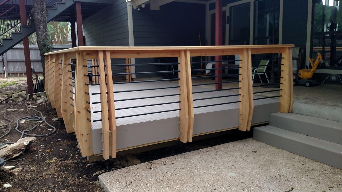 Custom wood deck with railing