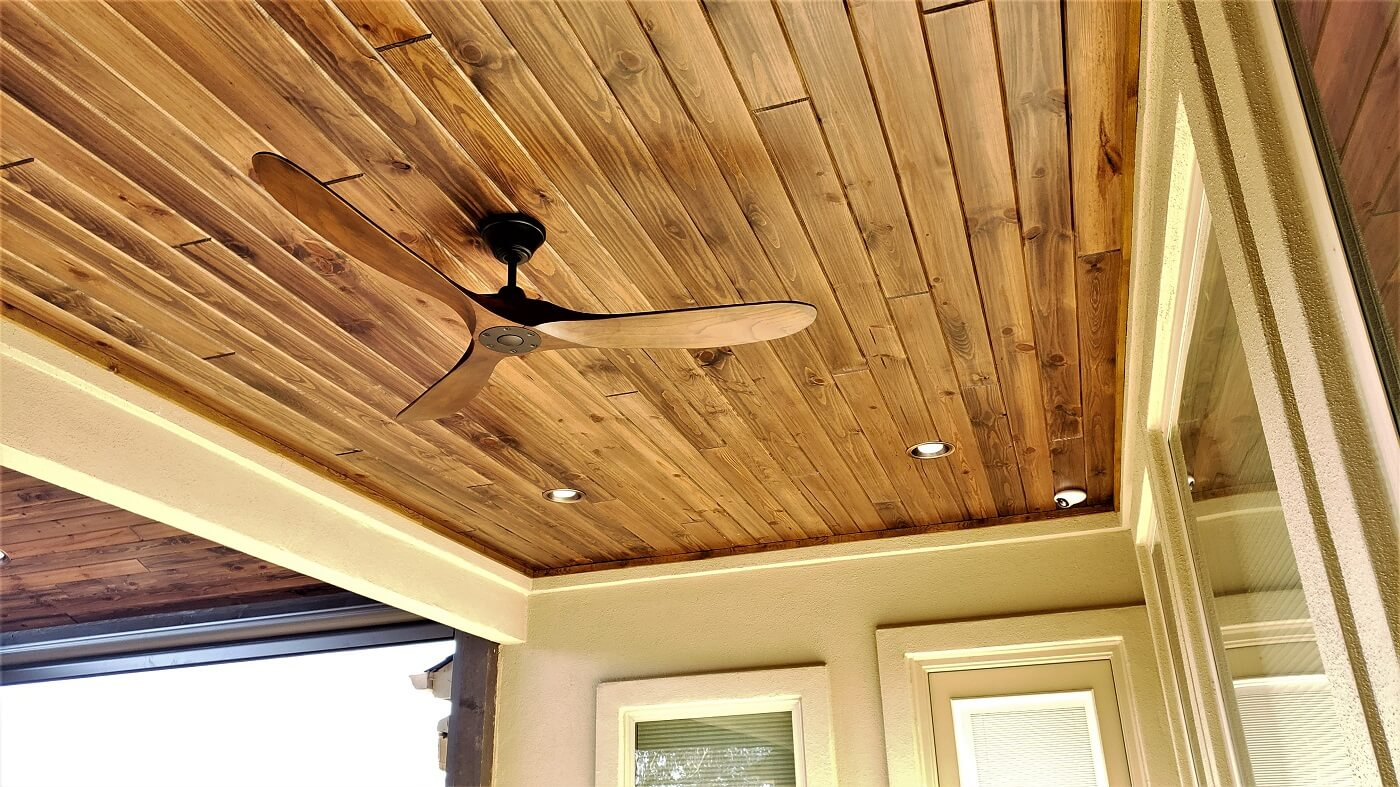 Porch and deck ceiling with fan and lighting