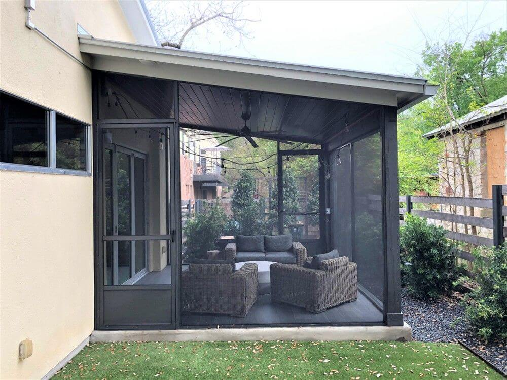 Exterior view of backyard screened porch
