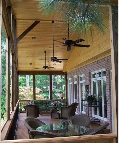 gabled roof with screened porch and ceiling fans