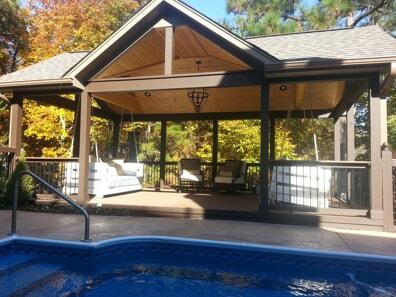 birmingham detached cedar pool porch with composite decking
