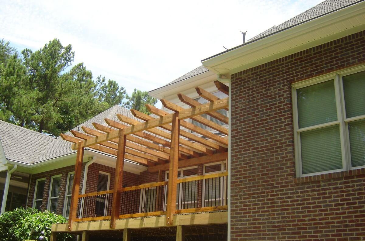 Wood pergola on deck