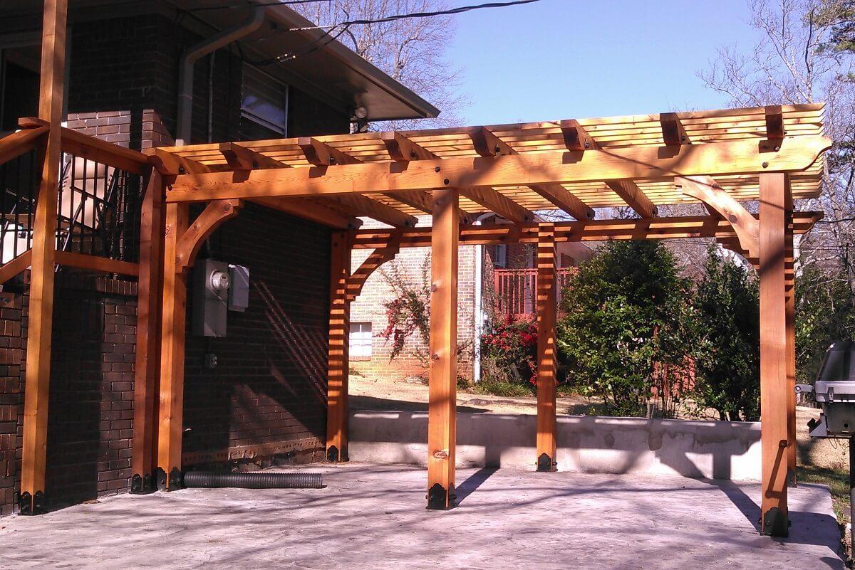 Wood pergola on patio