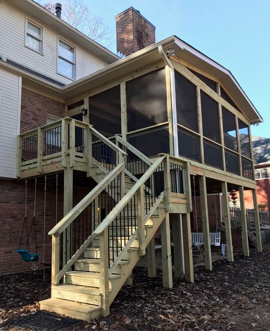 Screened porch and deck with staircase