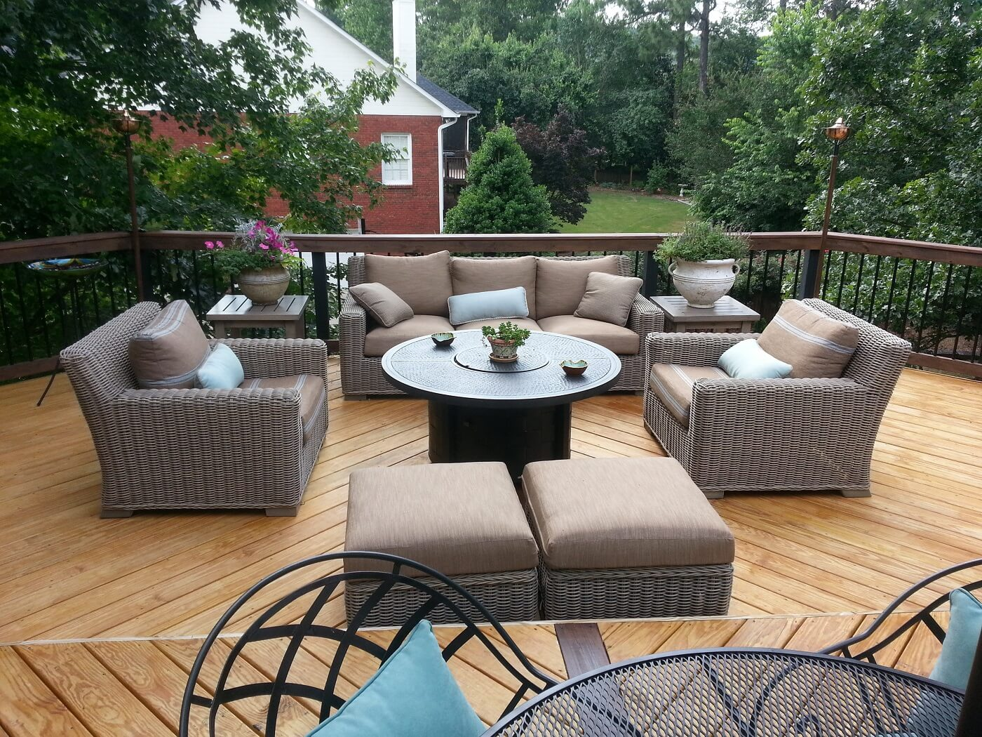 Cozy custom backyard deck