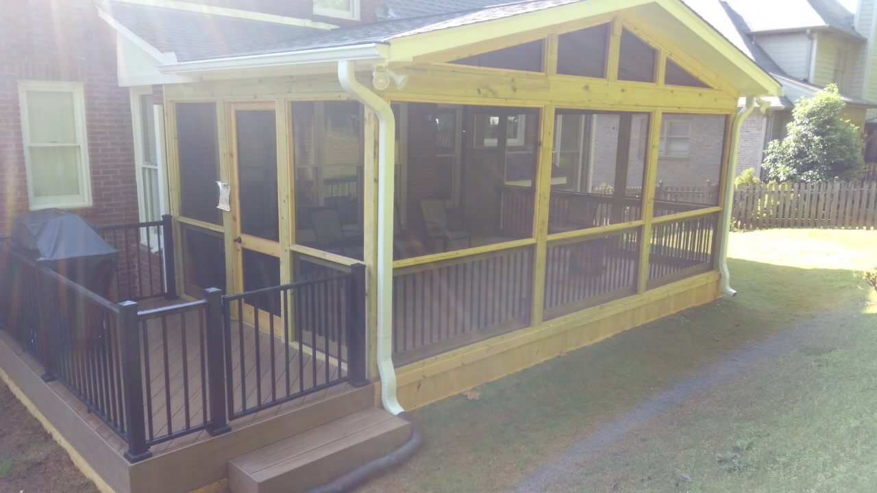 Exterior view of screened porch and deck