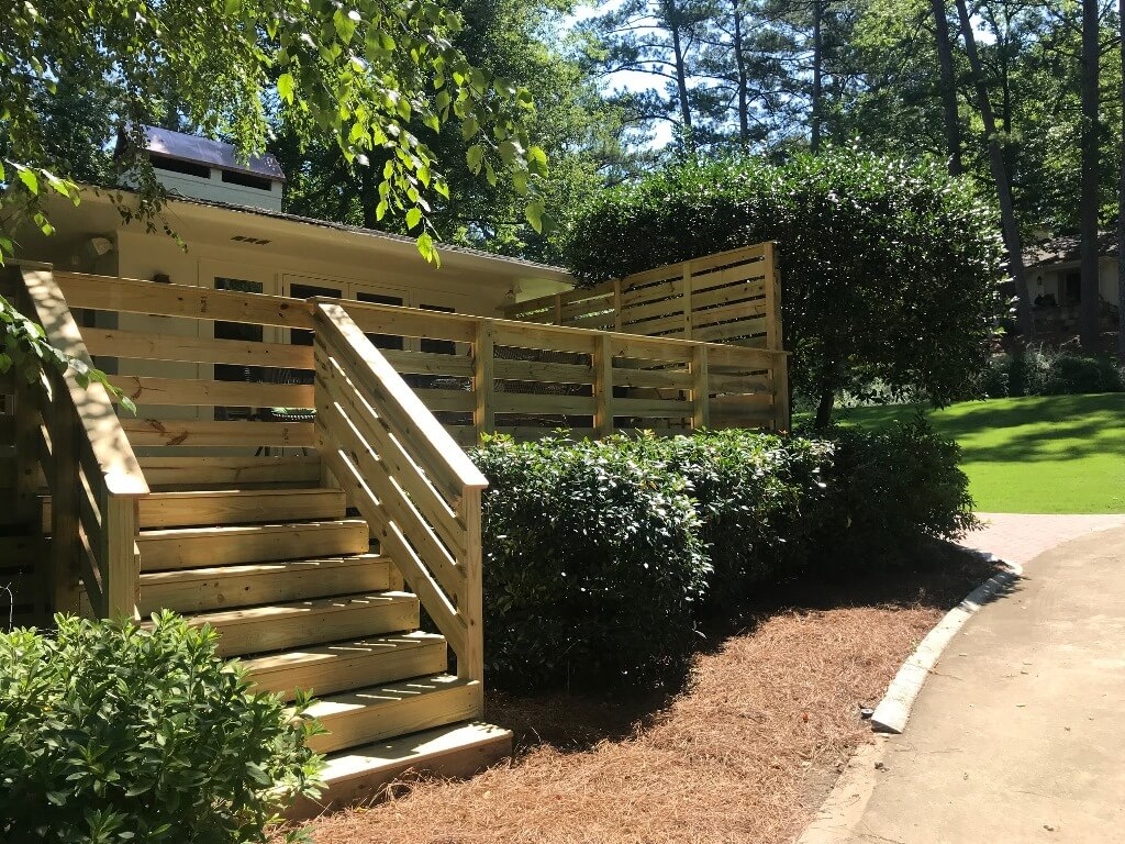 Custom privacy wood deck