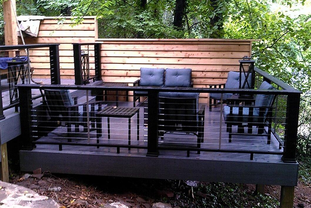 Custom purple multi-deck seating area