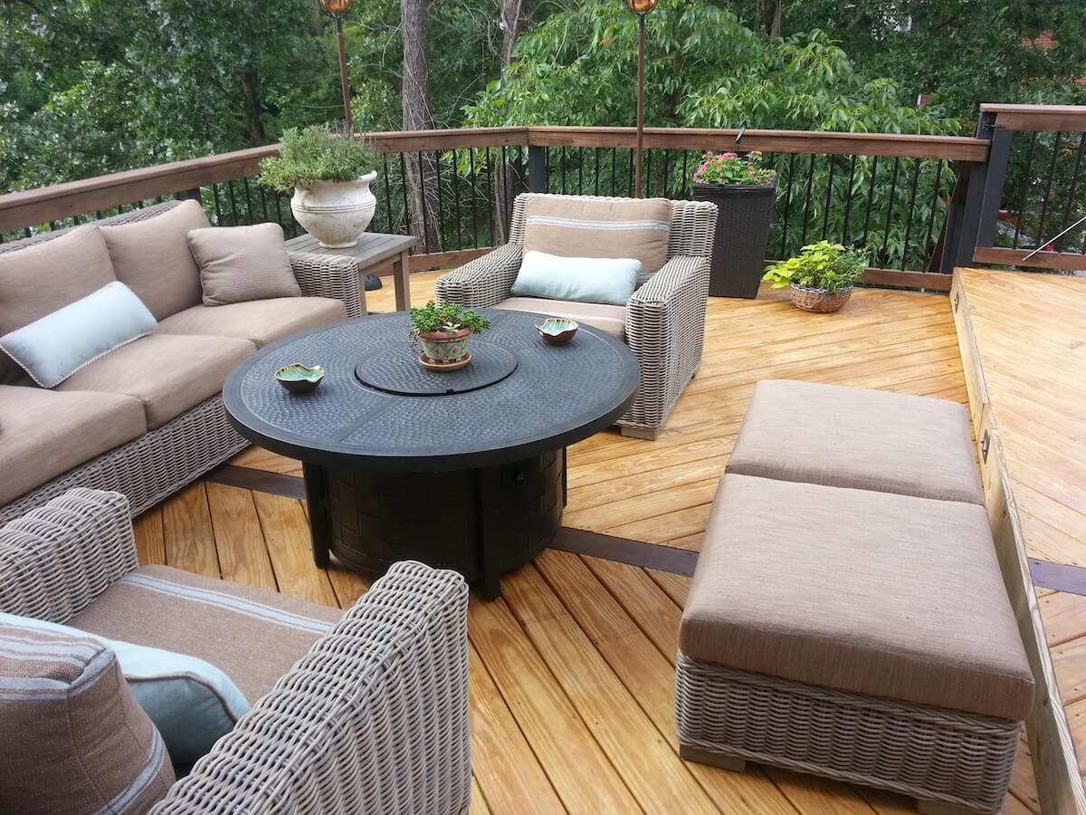 Custom wood deck with cozy seating area