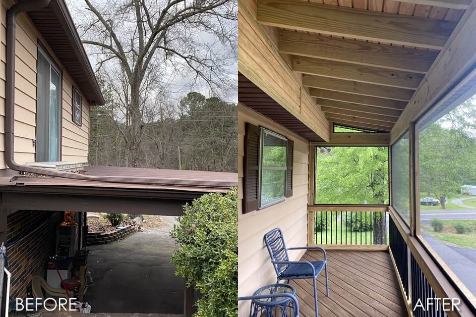 Before and after details of custom screened porch