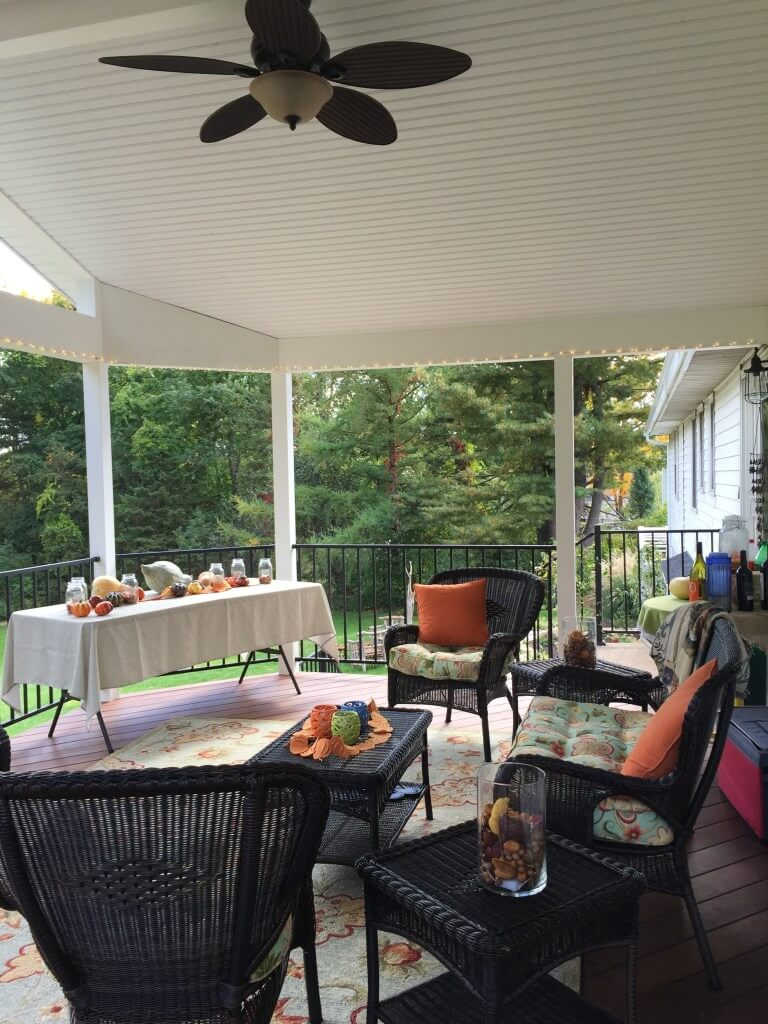 Cozy deck space with food on the table