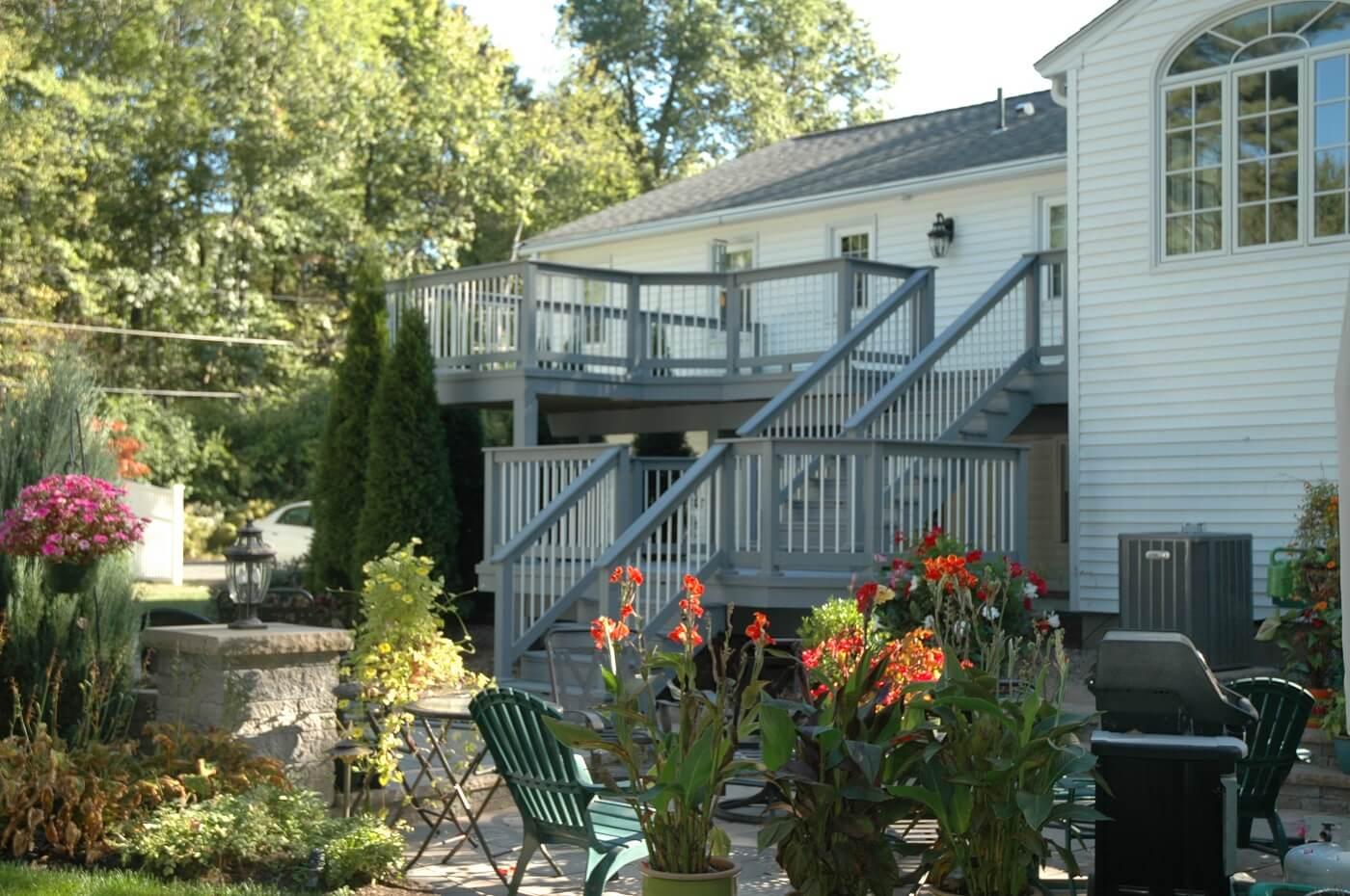 Custom backyard elevated deck and patio