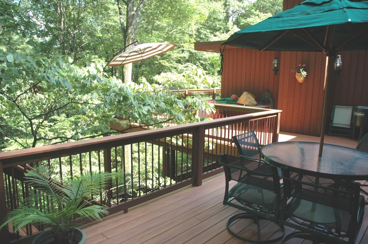 Custom elevated deck with seating area