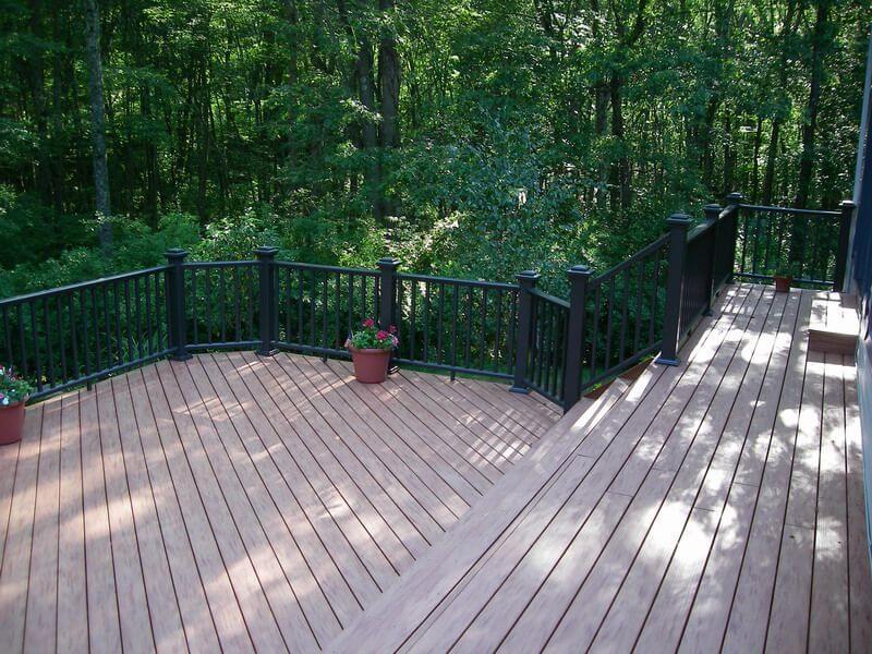 Custom multi-level deck with railing