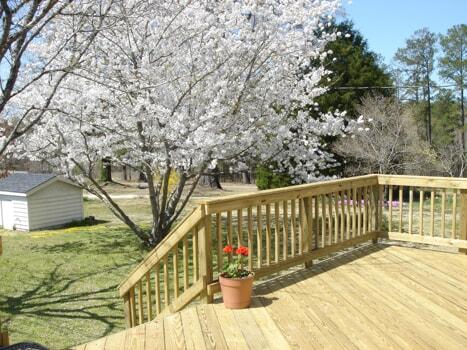 macon georgia deck with cherry blossom tree