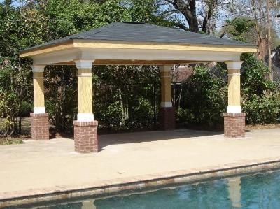 Poolside porch with hip roof