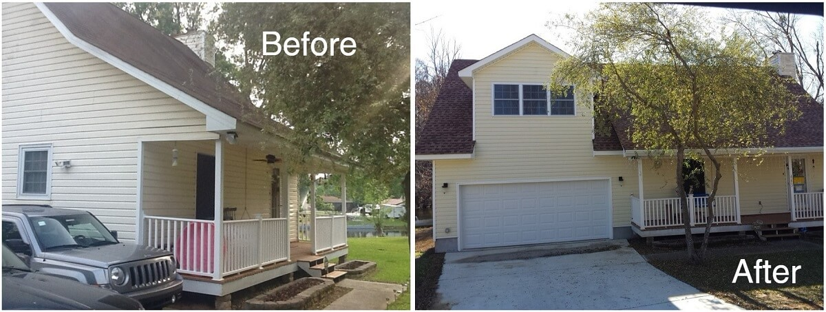 Before and after garage area