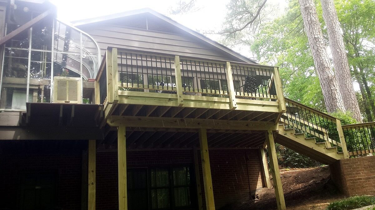 New wood deck with railing