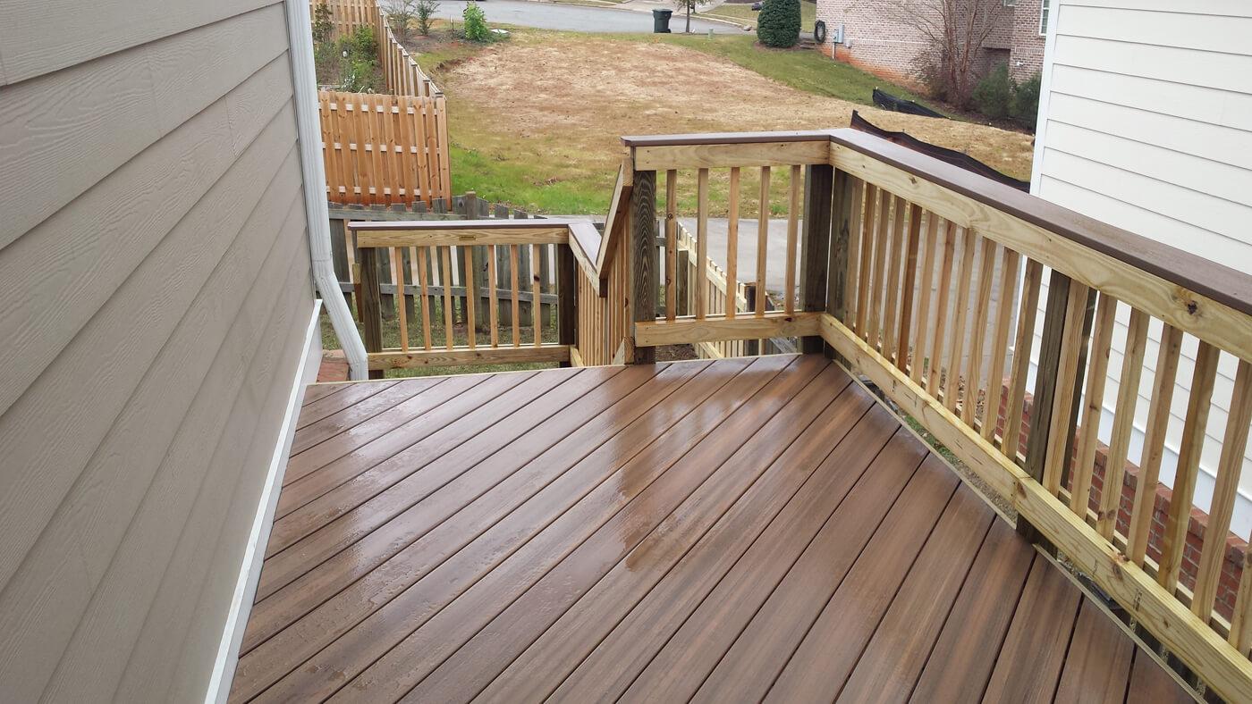 Wood deck wet from rain