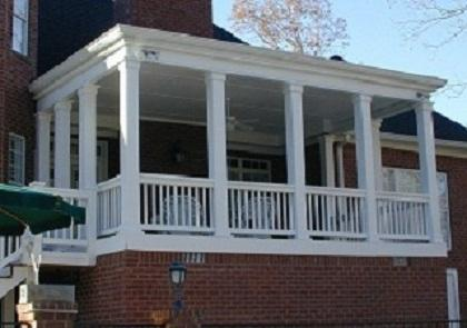 Custom backyard porch with flat roof
