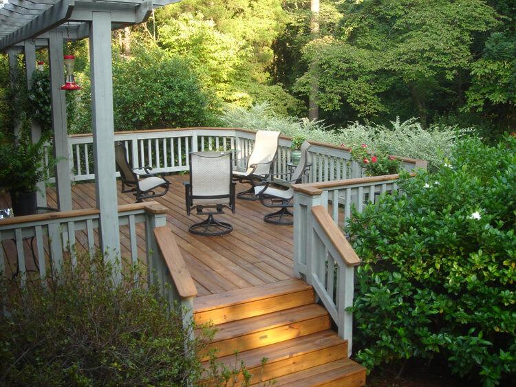 Custom backyard deck with seating area