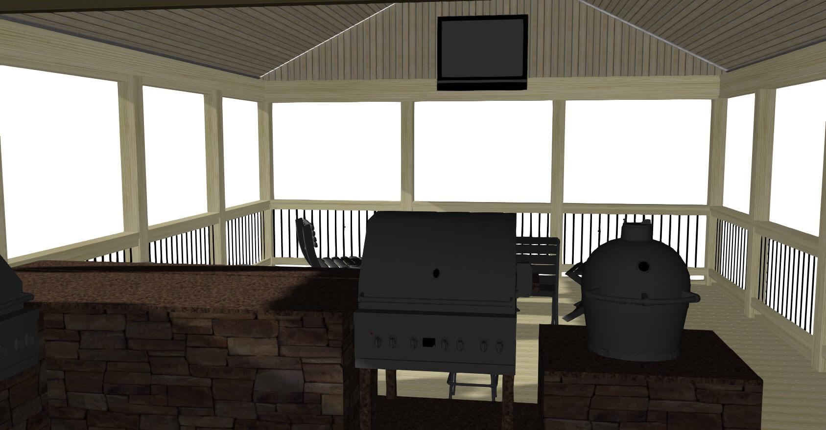 Porch with outdoor kitchen design