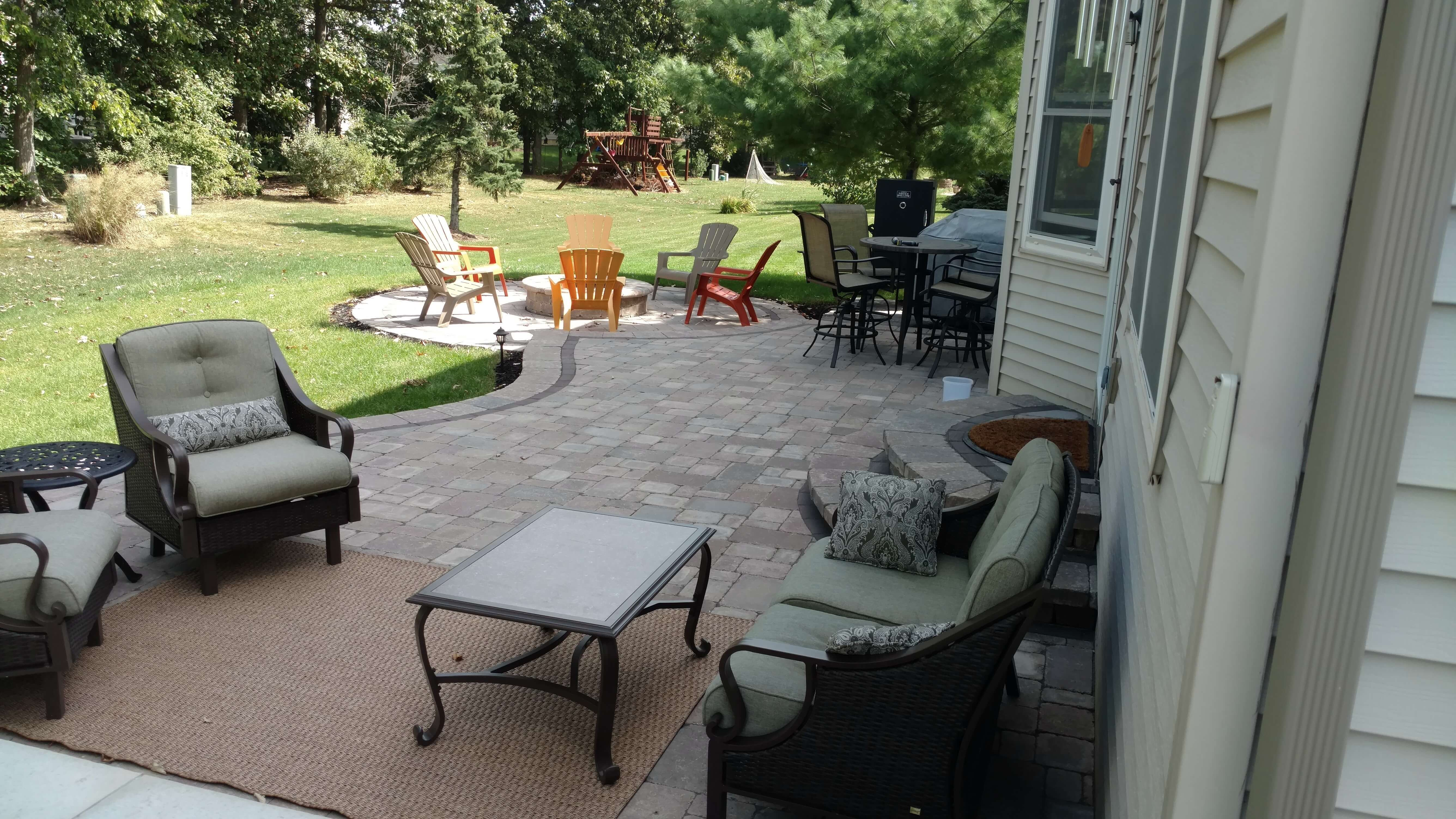 Patio seating area and fire pit