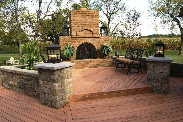 Custom deck with outdoor fireplace