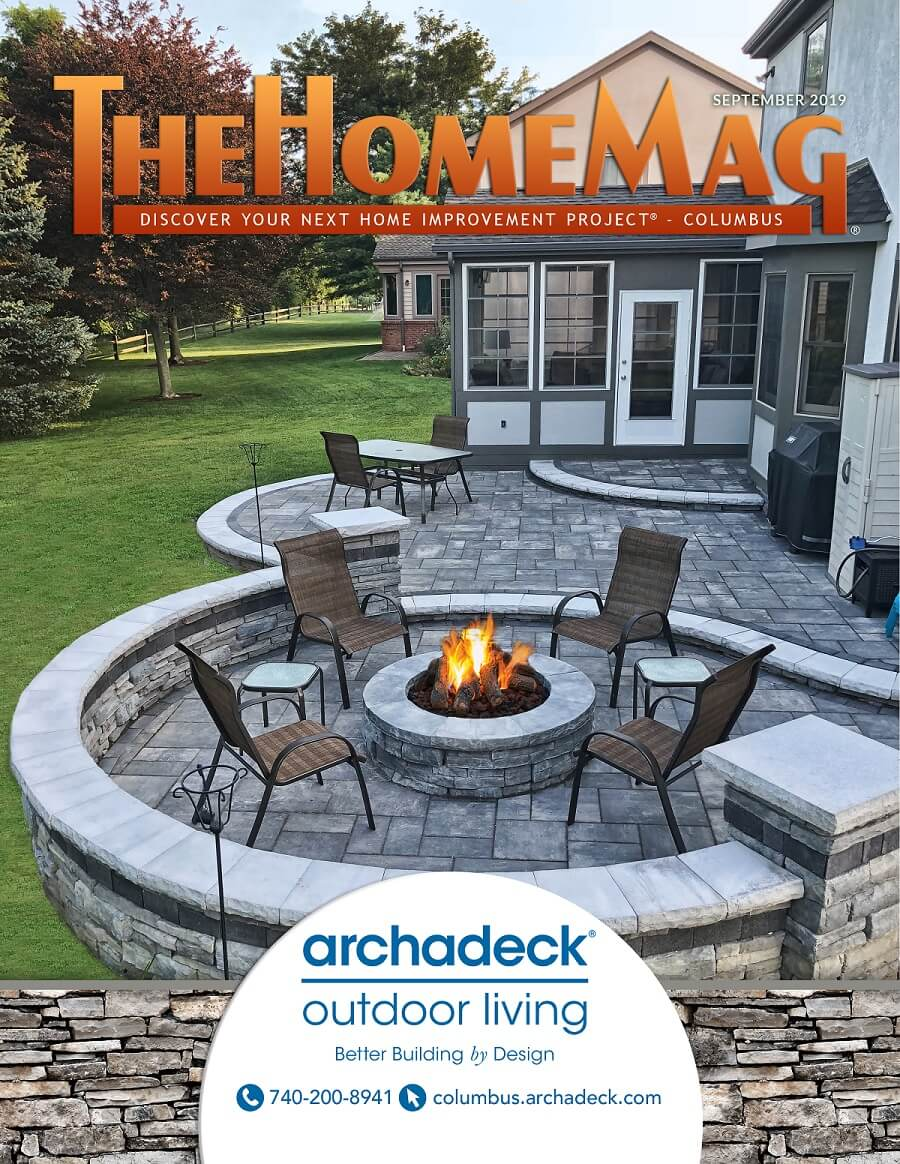 Magazine cover with custom patio and fire pit