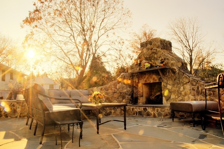 Custom patio with outdoor fireplace