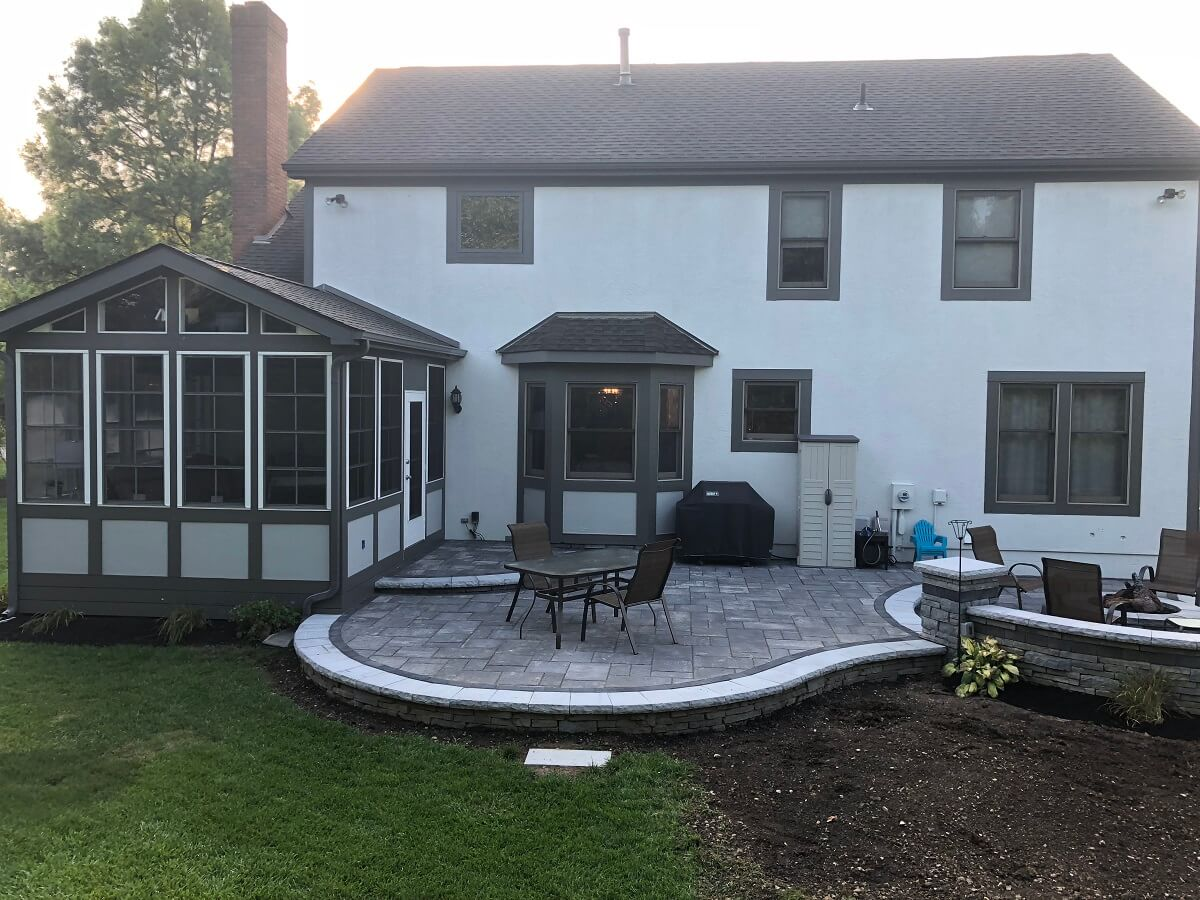 Custom backyard screened porch and patio
