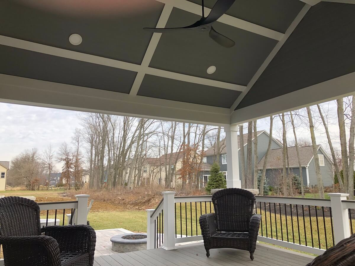 Seating area on covered porch